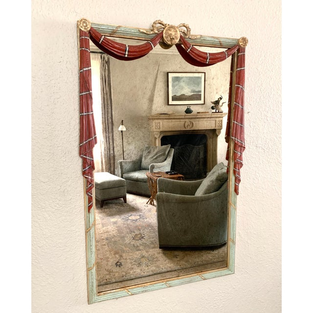 Early 20th Century Red Painted Drapery Swag Mirror For Sale - Image 13 of 13