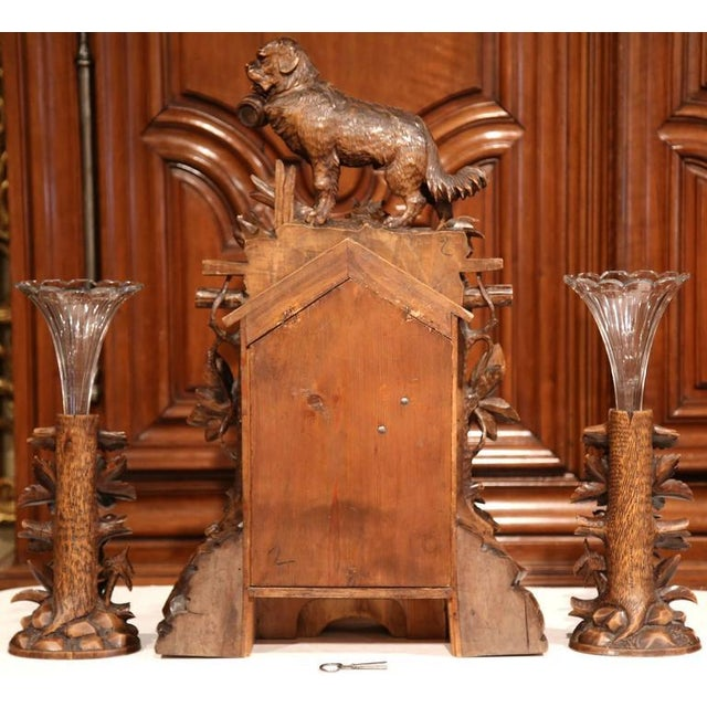19th Century Black Forest Carved Walnut Cuckoo Clock - Set of 3 For Sale - Image 10 of 11