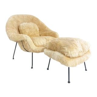 Vintage Eero Saarinen Womb Chair and Ottoman, Restored in Texas Sheepskin