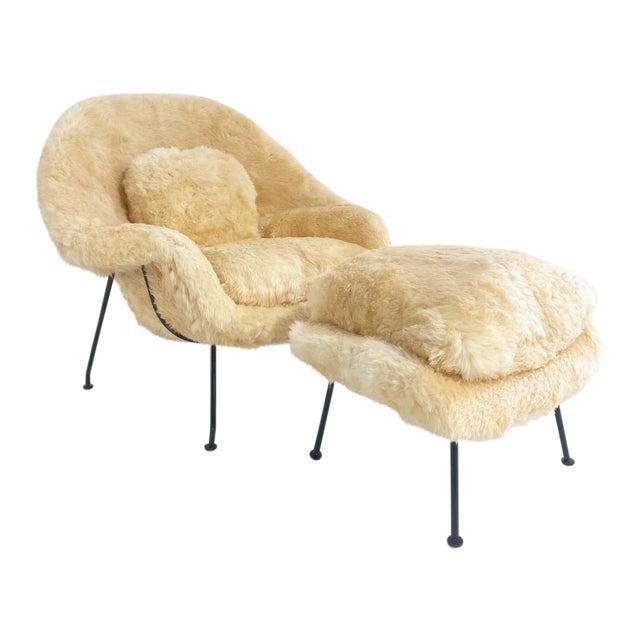Vintage Eero Saarinen Womb Chair and Ottoman, Restored in Texas Sheepskin For Sale
