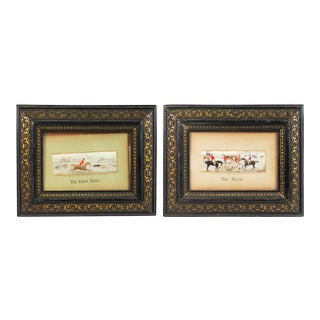 English Victorian Silk Embroidered Hunt Scenes - a Pair For Sale