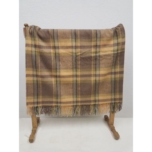 English Merino Wool Throw Soft Light Beige Green Blue Purple Plaid - Made in England For Sale - Image 3 of 9