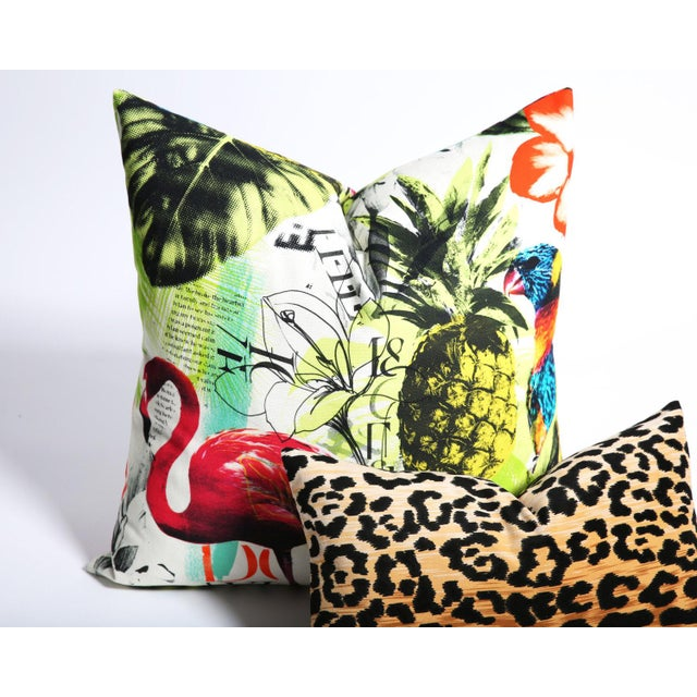 Pineapple Flamingo Art Tropical Decorative Euro Sham Pillow - Image 5 of 6