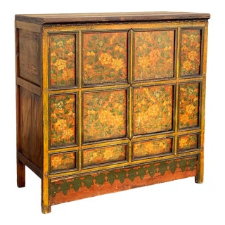 Antique Oriental Painted Hutch Cabinet For Sale