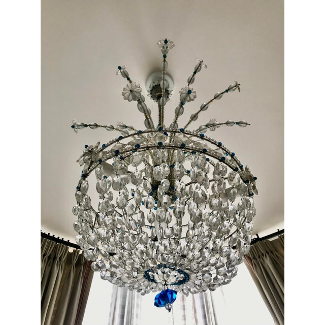 1940s Mid Century French Crystal Chandelier For Sale - Image 4 of 13