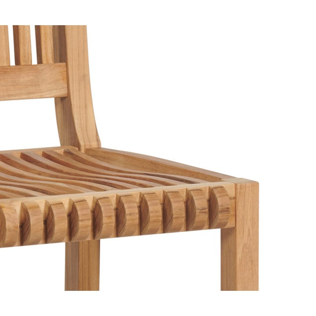 Contemporary Palm Teak Outdoor Bar Chair For Sale - Image 3 of 4