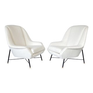 Isa Bergamo Lounge Chairs in Italian Boucle - a Pair For Sale