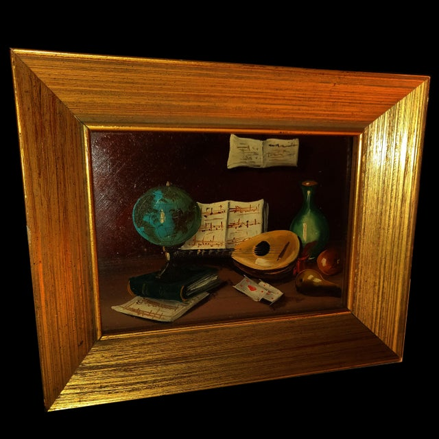 20th Century Gold Cerused Wood Framed Cryptically Composed Still Life Oil Painting on Board For Sale - Image 4 of 13