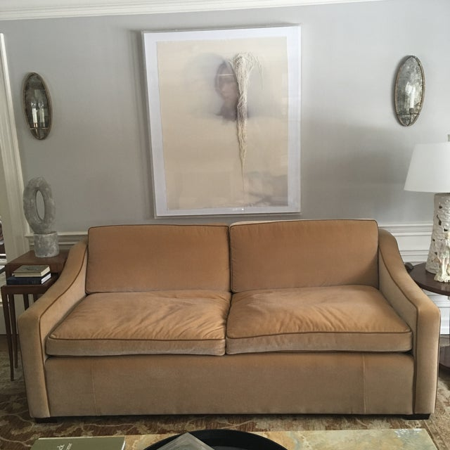 Contemporary Luxury Mohair & Leather Trim Sofa For Sale - Image 3 of 9