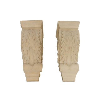 Pair of Carved Cement Wall Sconces