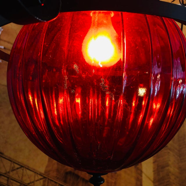 Vintage 1970's Red Swag Lamp For Sale In West Palm - Image 6 of 7