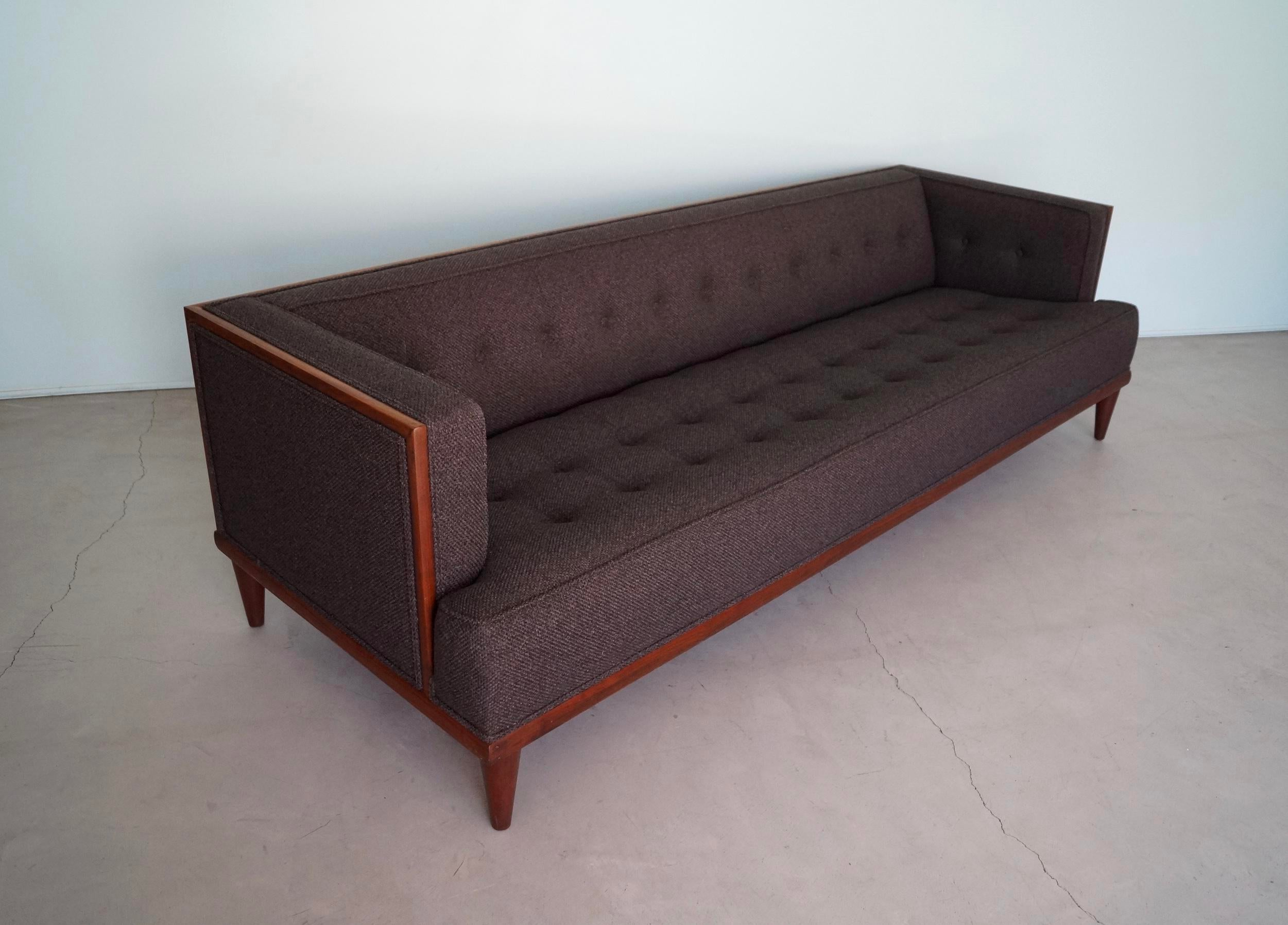 Edward Wormley Mid Century Danish Modern Walnut Charcoal Tufted Sofa For  Sale   Image 4
