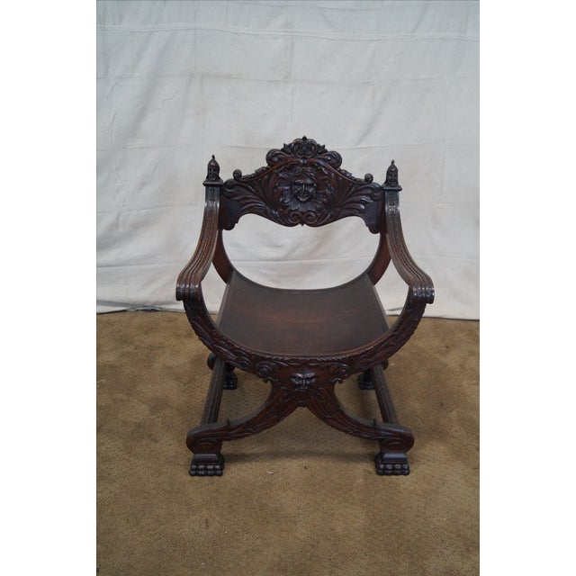 Antique 19th Century Oak Renaissance Style Savonarola X-Base Arm Chair AGE/COUNTRY OF ORIGIN: Approx 150 years, America...