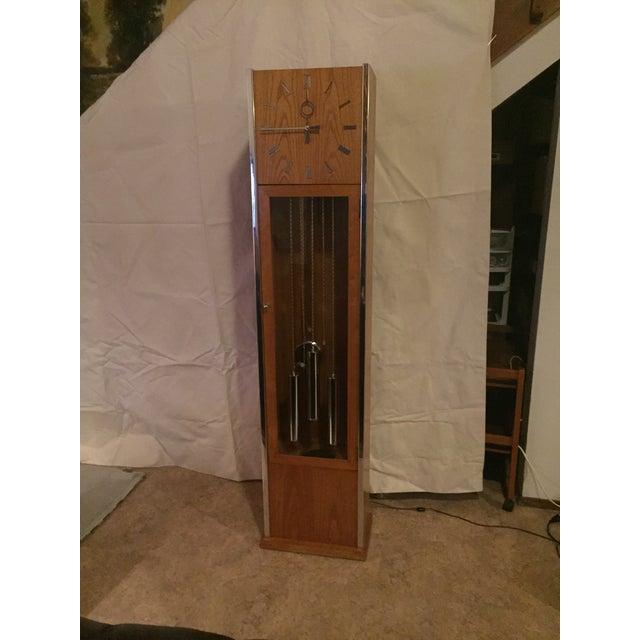 Chrome Vintage Mid Century Modern Oak and Chrome Pendulum Grandfather Clock For Sale - Image 8 of 11