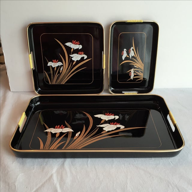 Black Lacquered Trays - Set of 3 - Image 7 of 11