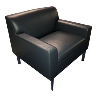 Contemporary Bernhardt Slate Leather Lounge Chair For Sale