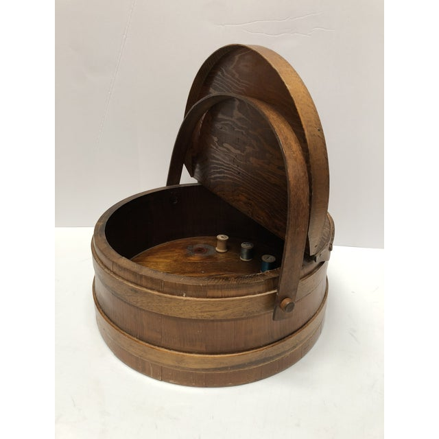 Wood 1930s Shaker Firkin Wood Sewing Basket For Sale - Image 7 of 11