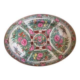 1950's Vintage Famille Rose Hand Painted Platter For Sale