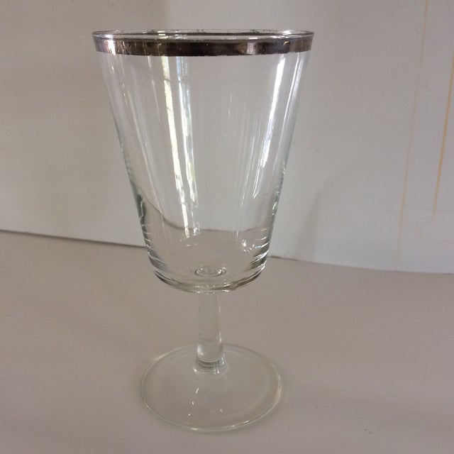 French French Platinum Rim Crystal Cocktail /Water Glasses - Set of 12 For Sale - Image 3 of 11