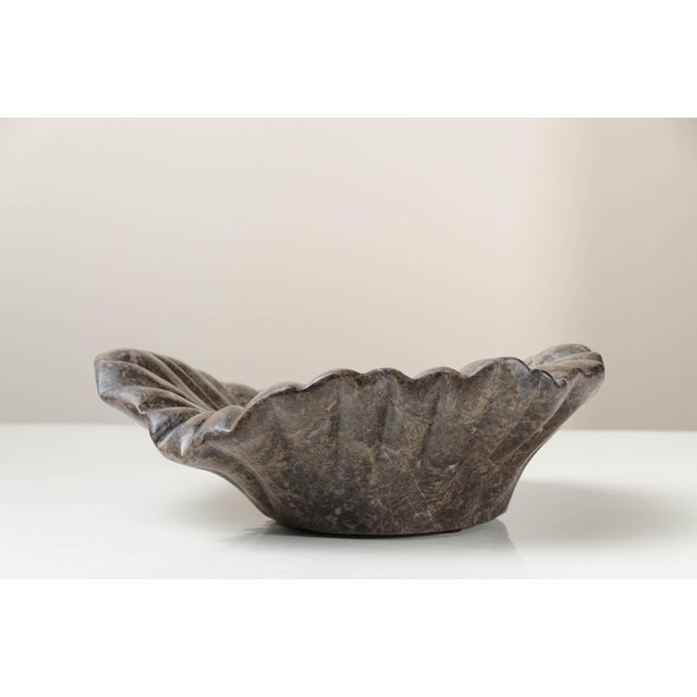 2010s Dong Shan Jade Hand Carved Pleated Leaf Charger by Robert Kuo, Limited Edition For Sale - Image 5 of 7