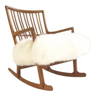 Vintage Hans Wegner for Mikael Laursen ML-33 Rocking Chair Reupholstered in New Zealand Sheepskin For Sale