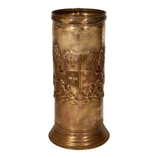 Vintage English Lion Coat of Arms Brass Umbrella Stand / Cane Holder For Sale