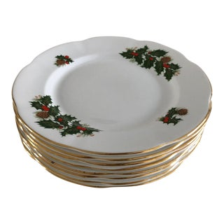"""Vintage Rosina Queen """"Yuletide"""" Holly Berries Salad Plates S/8 For Sale"""