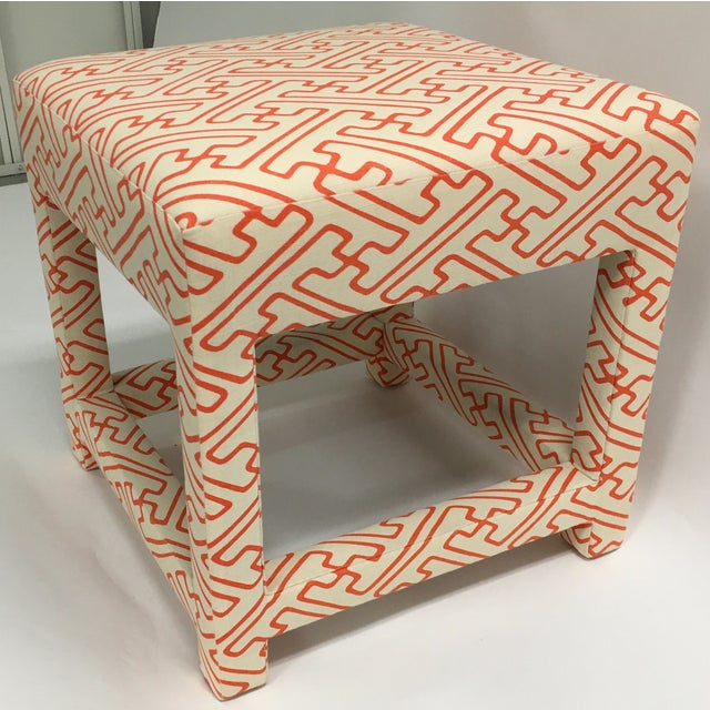 David Hicks Style Quadrille Upholstered Bench - Image 4 of 6