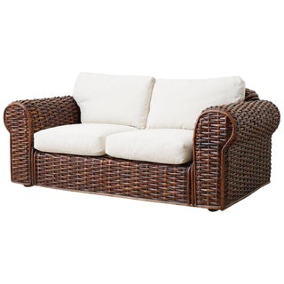Ralph Lauren Home Polo Collection Woven Rattan Settee For Sale