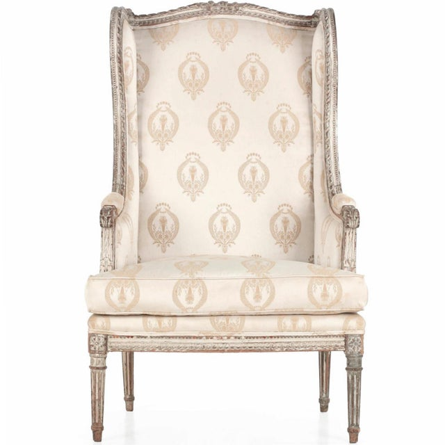 French Louis XVI Distressed Wingback Armchair - Image 1 of 11