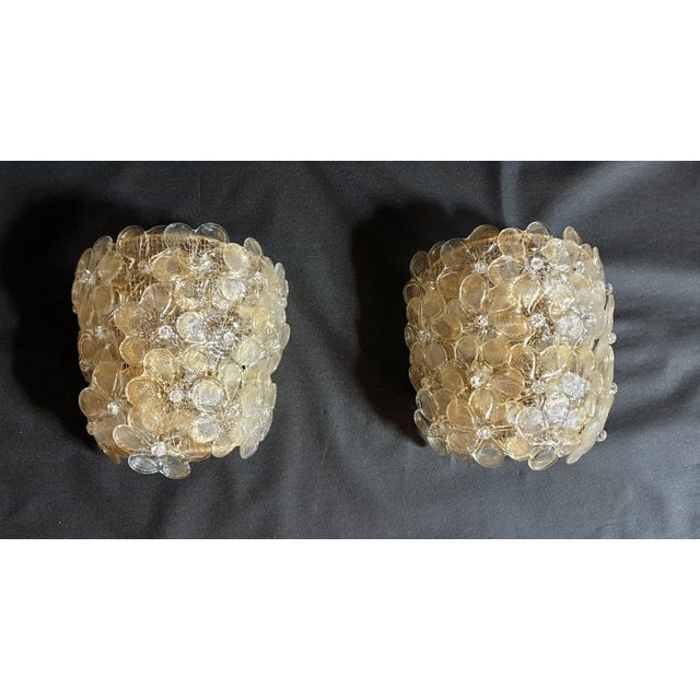Mid-Century Modern Murano Glass Gold Flower Sconces by Barovier - a Pair For Sale - Image 10 of 11