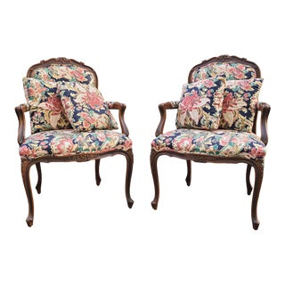"Ethan Allen Louis XV ""Duvall"" Occasional Chairs - a Pair For Sale"