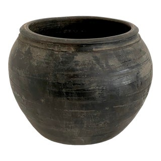 Antique Chinese Matte Black Pottery Jug For Sale