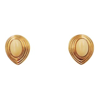 1980s Lanvin Germany Off White Rhinestone Pierced Earrings For Sale