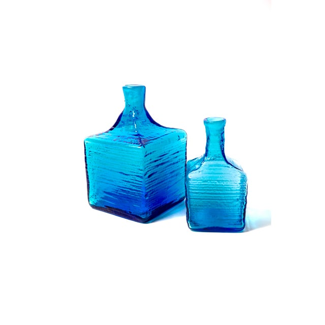 Blenko|• 6224l & 6224s Turquoise Blown Art Glass Decanters / Vases by Wayne Husted For Sale - Image 10 of 13