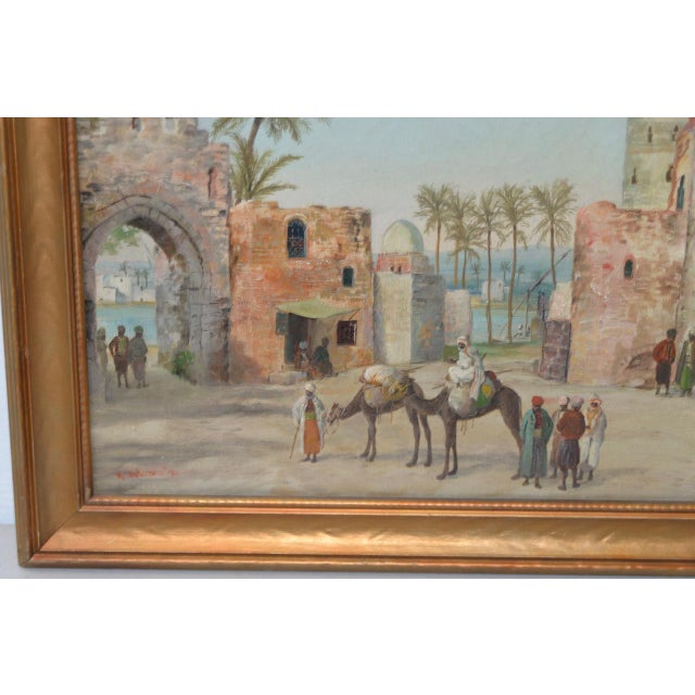 Late 19th to Early 20th Century Middle East Oil Painting For Sale - Image 5 of 8