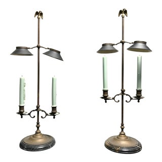 Federal Style Brass Candelabra With Eagle Finials - a Pair For Sale