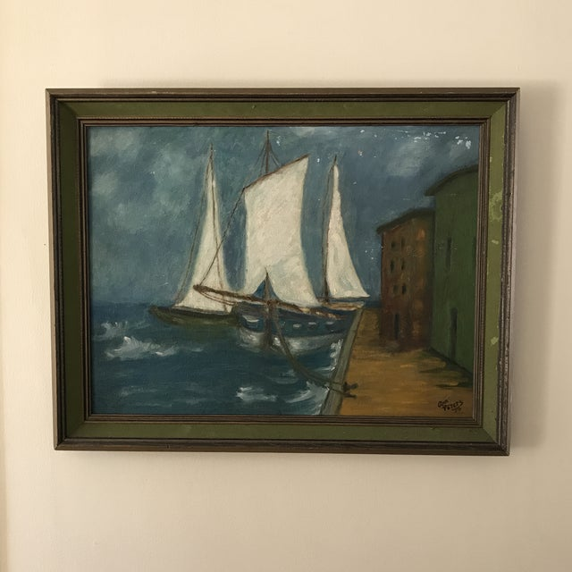 Vintage Twilight Sailboat Painting For Sale - Image 10 of 10