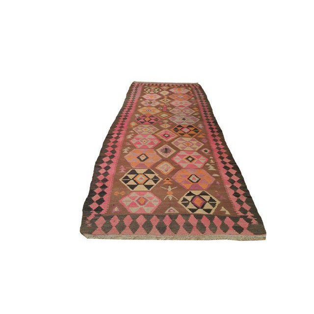 This beautiful Traditional Kilim rug is handmade . It is a vintage rug made of fine wool in beautiful colors of brown,...