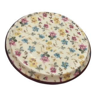 Vintage Floral Erphila Porcelain Lid or Plate For Sale