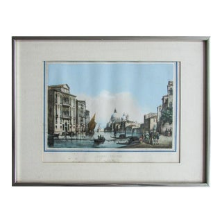 Antique 1850 Hand-Colored Lithograph View of Venice Grand Canal Tommaso Viola For Sale