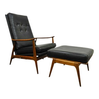 Milo Baughman James Inc Thayer Coggin Walnut Reclining Lounge Chair & Ottoman For Sale