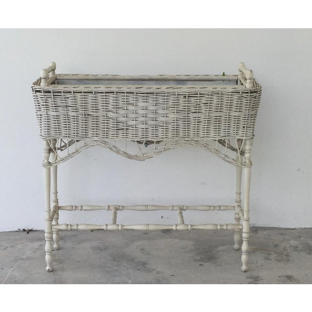 Antique White-Painted Wicker & Wood Planter - Image 2 of 9