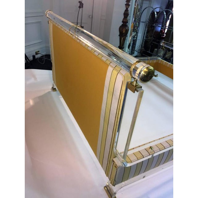 Lucite MAGNIFICENT CHARLES HOLLIS JONES LUCITE AND BRASS UPHOLSTERED BED For Sale - Image 7 of 10
