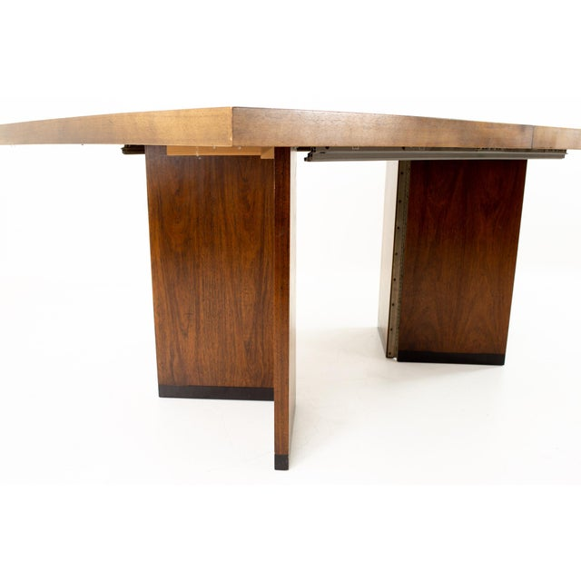 1960s Paul Evans Style Lane Mid Century Brutalist Patchwork Walnut Pedestal 10 Person Dining Table - Set of 3 For Sale - Image 5 of 9