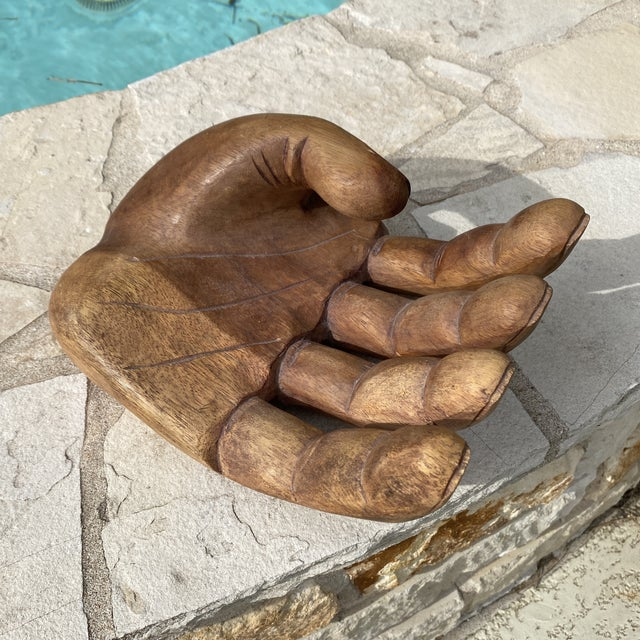 1960s Mid Century Wooden Human Hand Sculpture For Sale - Image 10 of 12