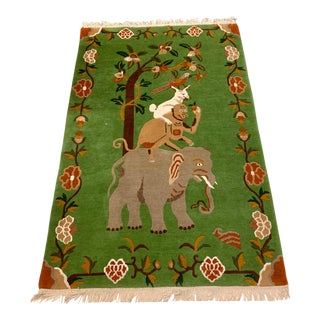 Elephant & Monkey Hand Knotted Wool Rug For Sale