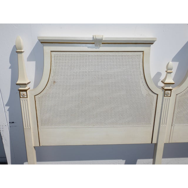 French Provincial White & Gold Cane Headboard - Image 10 of 11