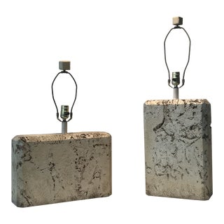 Samuel Marx Fossilized Coral Stone Table Lamps With Matching Finial - a Pair For Sale