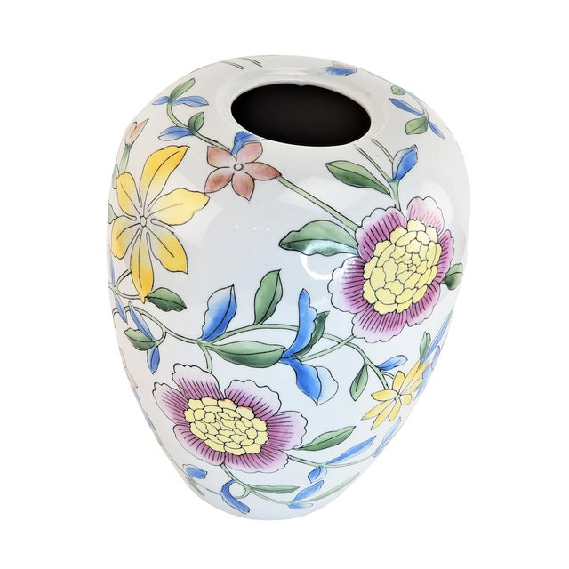 """Ceramic Asian 14"""" Floral Pink Peony White Yellow Porcelain Vase For Sale - Image 7 of 7"""
